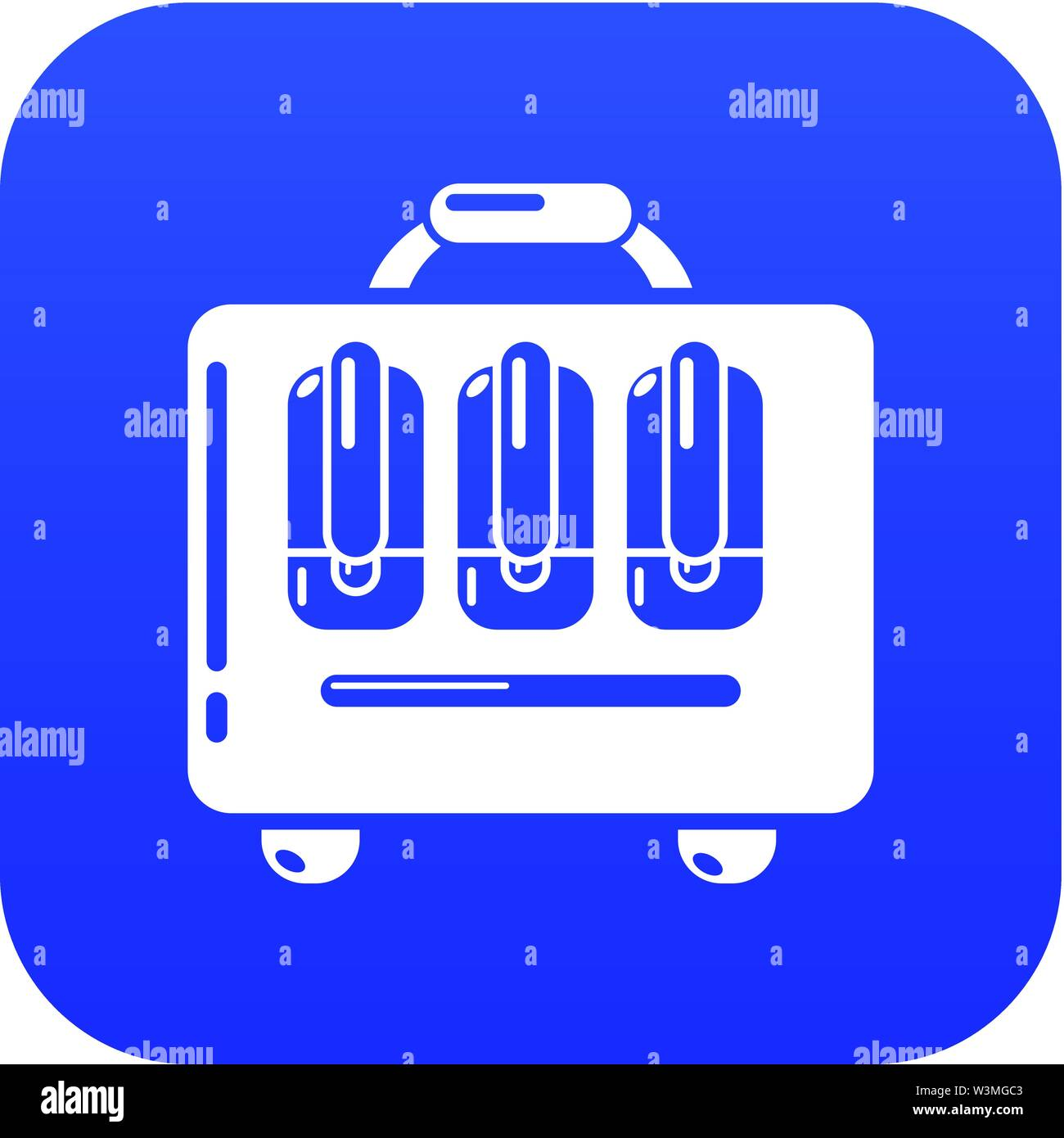 Travel bag design icon, simple black style - Stock Image