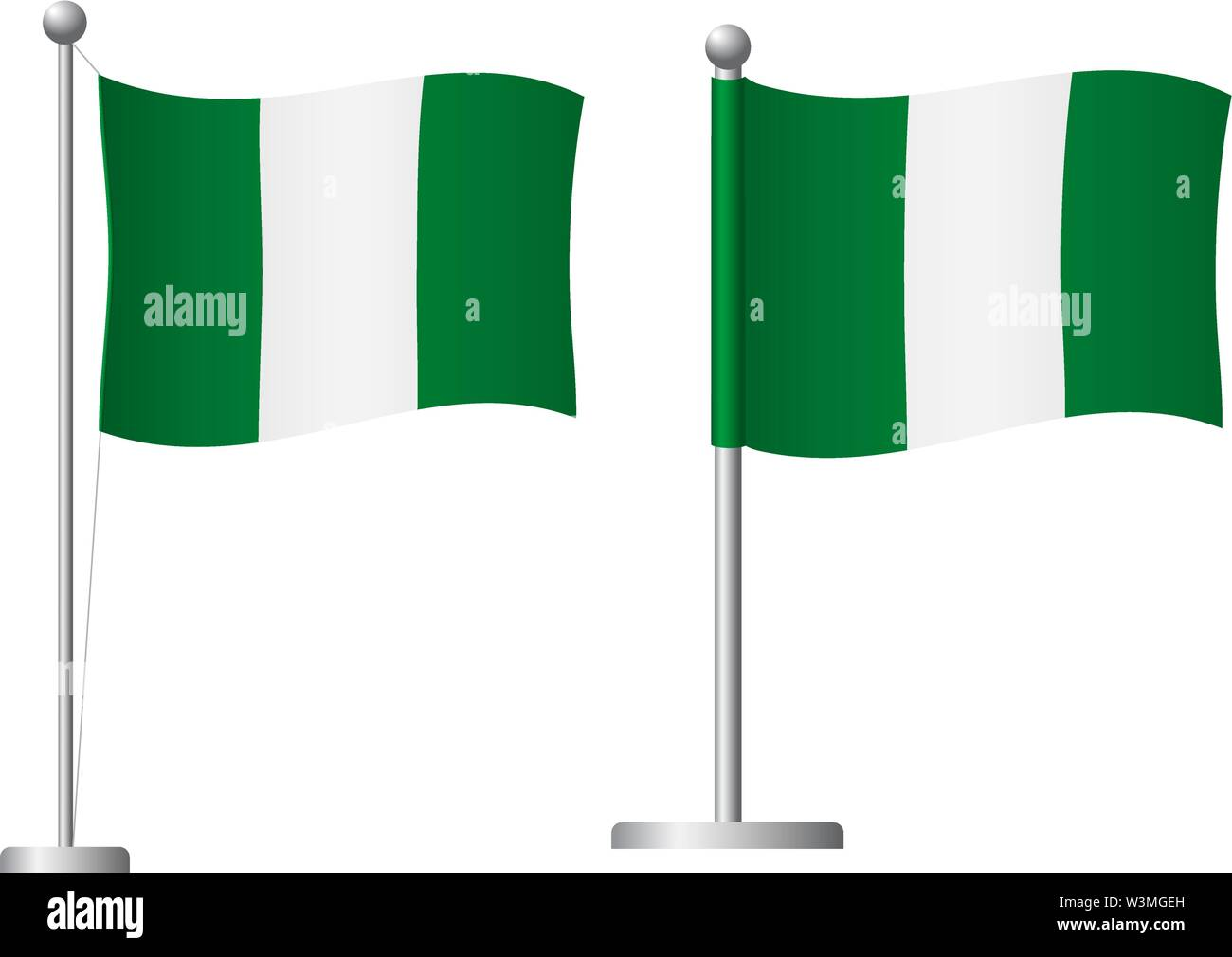 Nigeria flag on pole. Metal flagpole. National flag of Nigeria vector illustration - Stock Image
