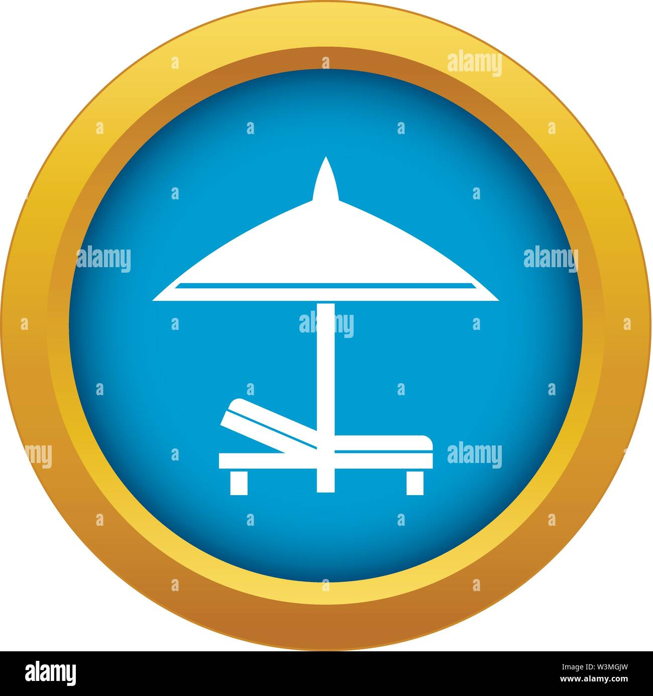 Bench and umbrella icon blue vector isolated - Stock Image