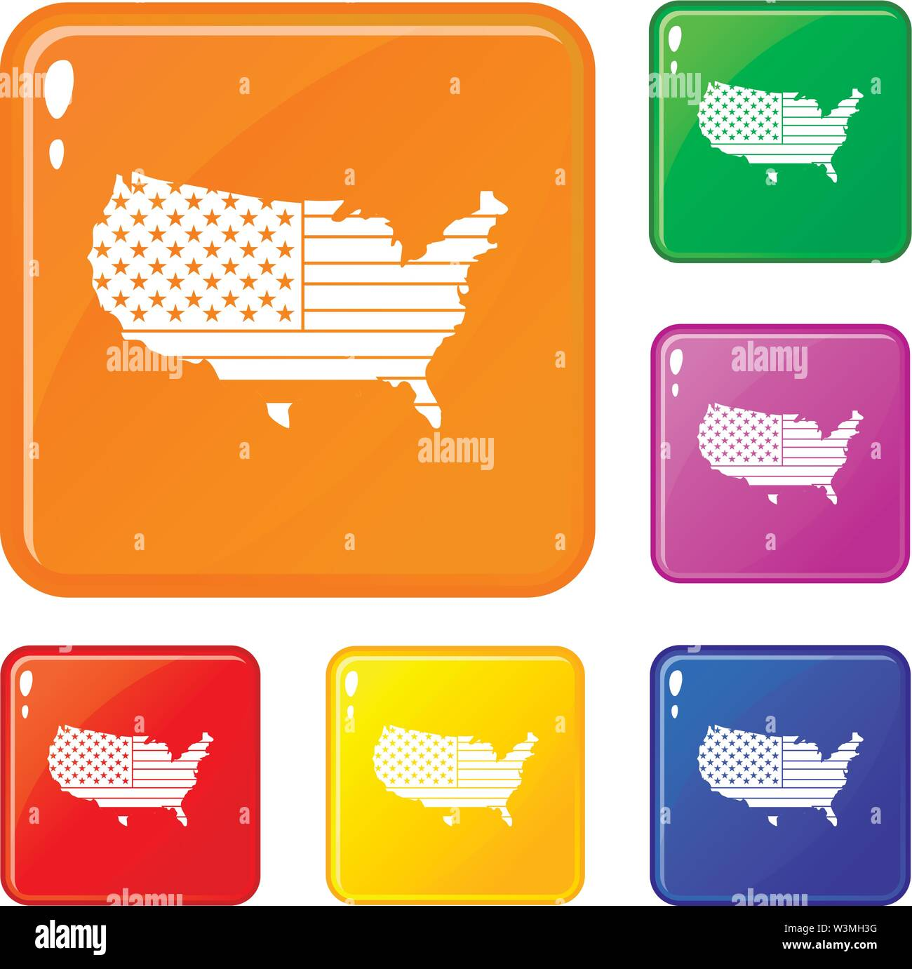 American map icons set vector color - Stock Image