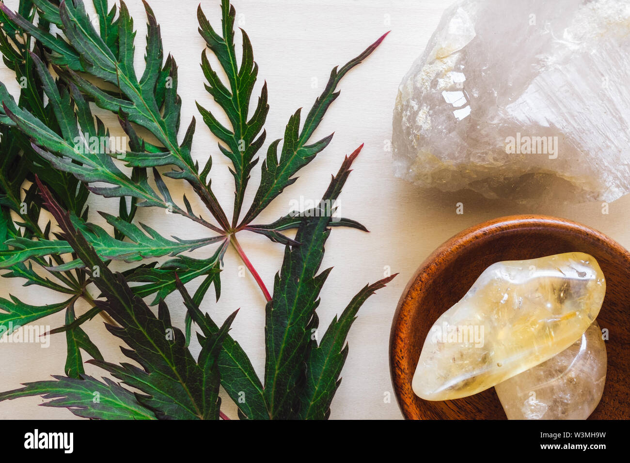 Citrine with Quartz and Japanese Maple Leaves on Wood - Stock Image
