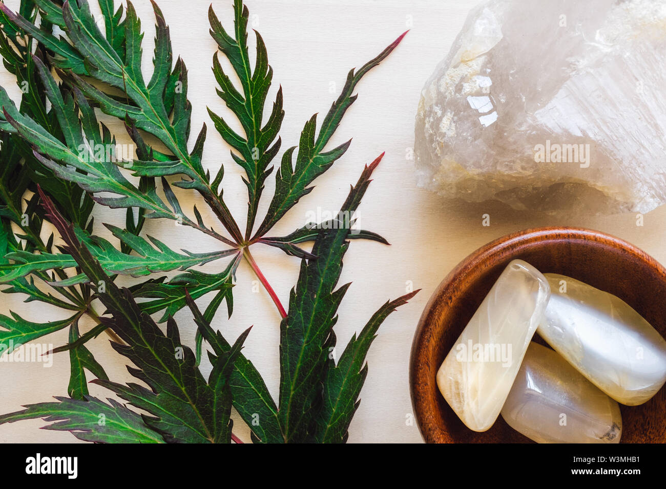 Moonstone with Quartz and Japanese Maple Leaves on Wood - Stock Image