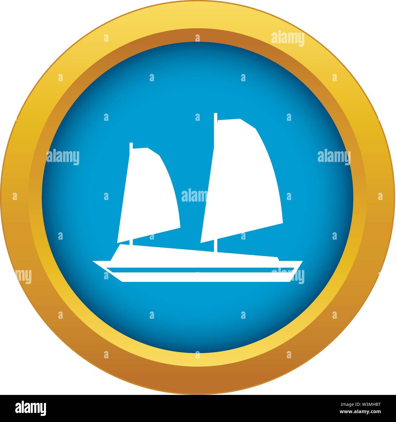 Vietnamese junk boat icon blue vector isolated - Stock Image