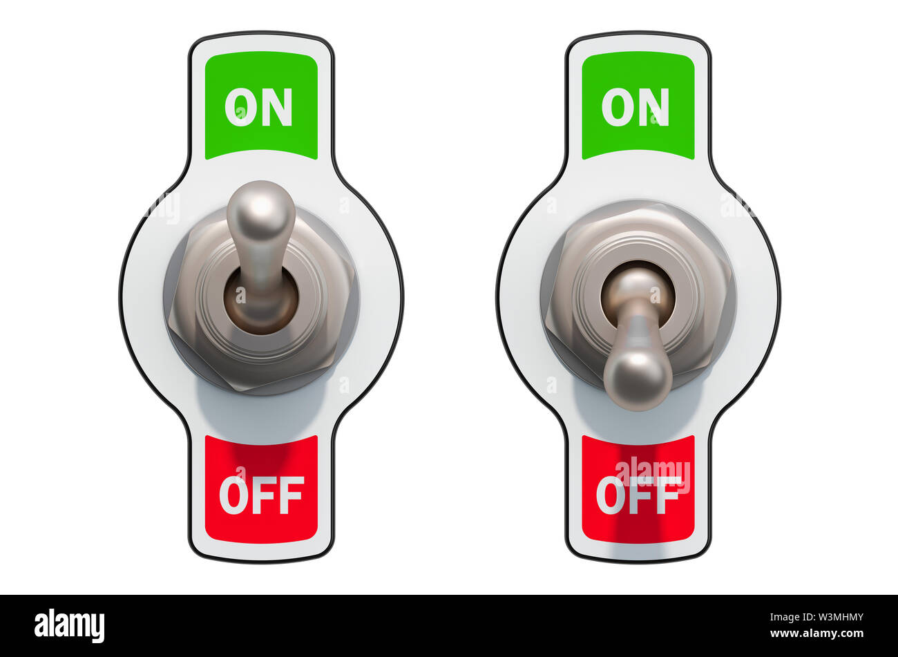 Toggle Switches on and off isolated on white background - Stock Image