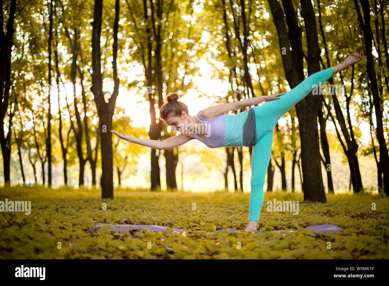 Thin brunette girl plays sports and performs yoga poses in autumn park on a sunset background. Woman doing exercises on the yoga mat. Autumn forest. S - Stock Image