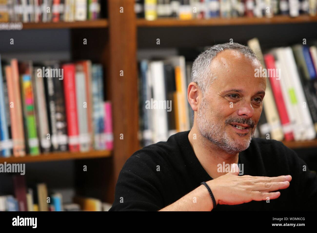 Lima, Peru. 16th July, 2019. Spanish-Mexican opera director Francisco Negrin grants an interview to Efe, in Lima, Peru, 16 July 2019. Negrin will direct the four ceremonies of the Pan American and Parapan American Games Lima 2019. Credit: Ernesto Arias/EFE/Alamy Live News - Stock Image