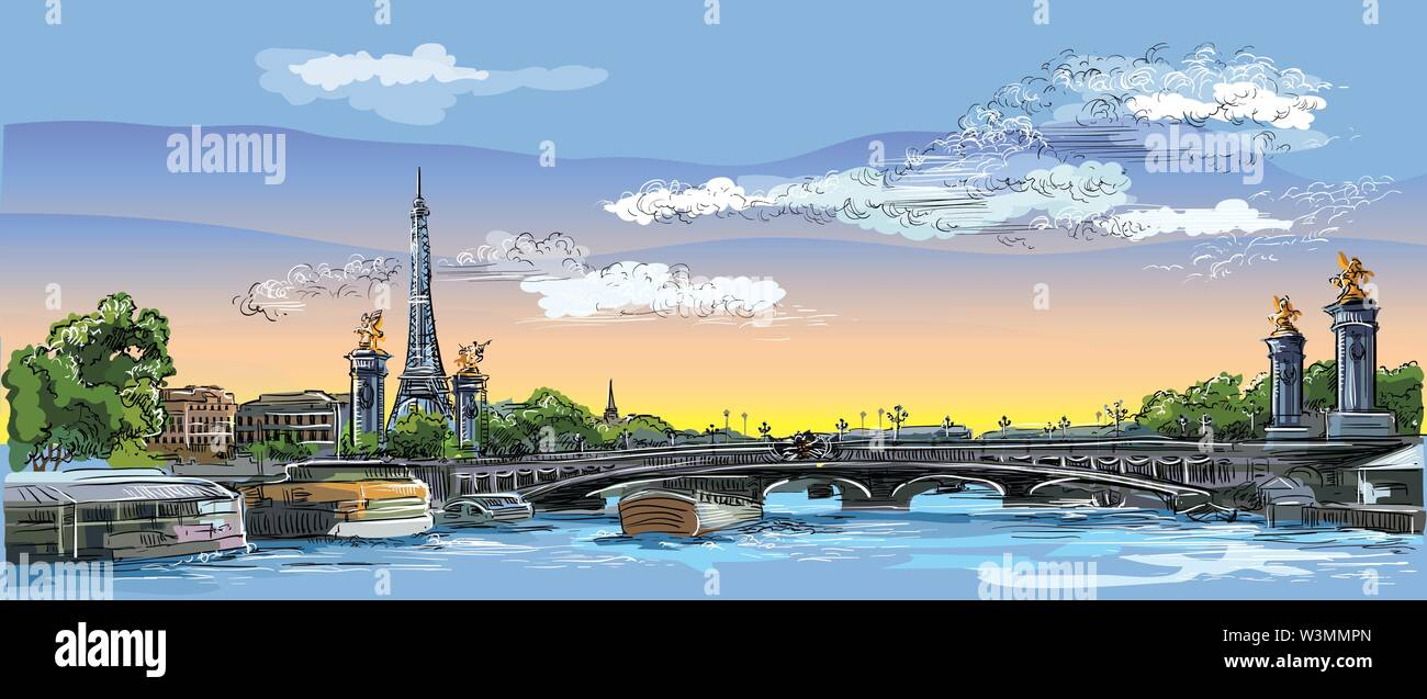 Colorful vector hand drawing Illustration of Eiffel Tower, landmark of Paris, France. Panoramic cityscape with Eiffel Tower and Pont Alexandre III, vi - Stock Image