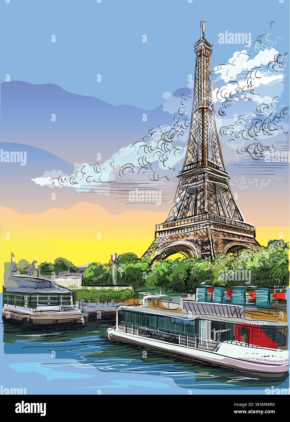 Colorful vector hand drawing Illustration of Eiffel Tower, landmark of Paris, France. Cityscape with Eiffel Tower, view on Seine river embankment. Col - Stock Image