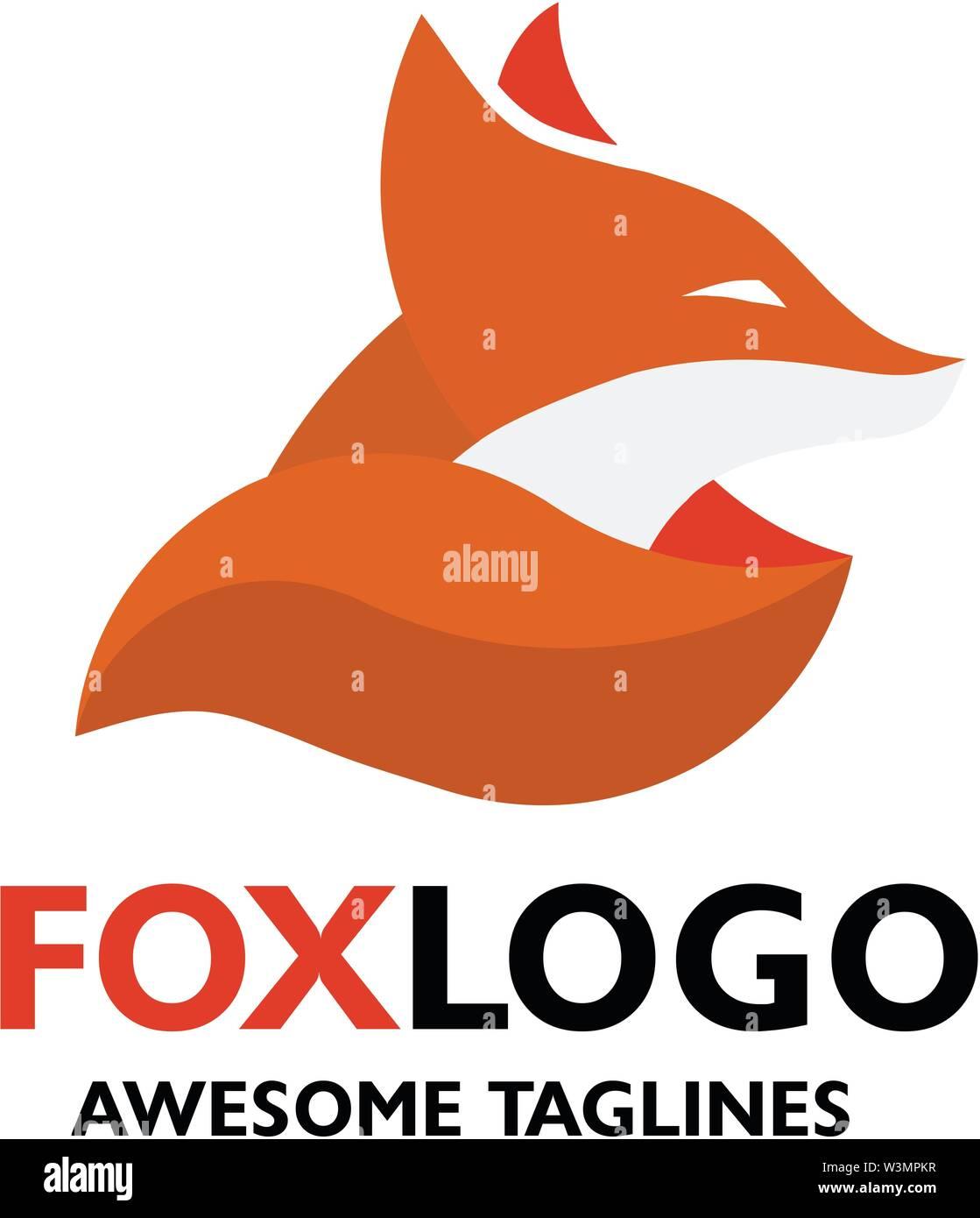 creative colorful Fox point modern logo vector concept element - Stock Vector