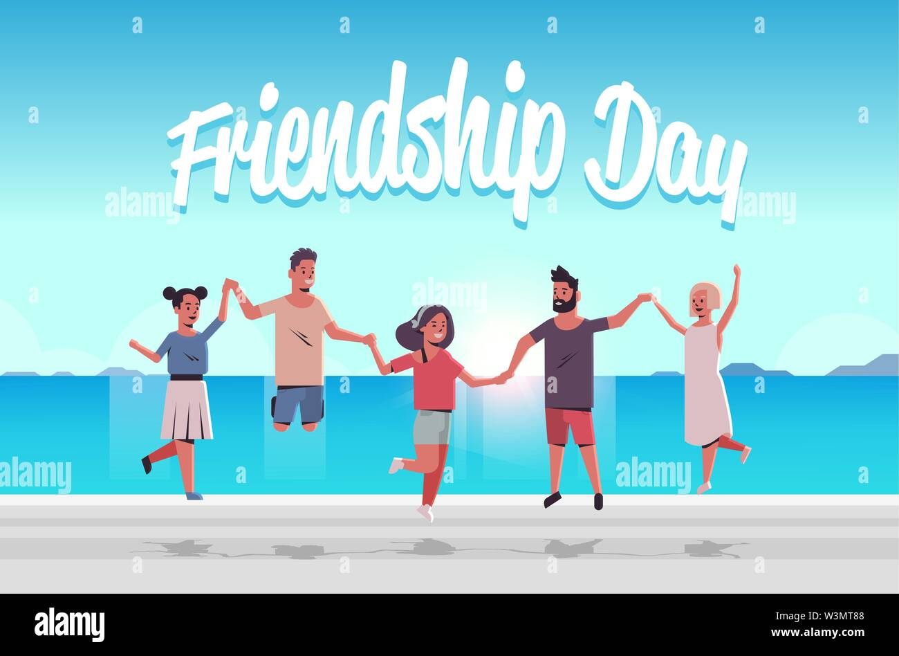 young people group jumping on beach men women holding hands summer vacation friendship day celebration concept friends having fun seaside background f - Stock Image