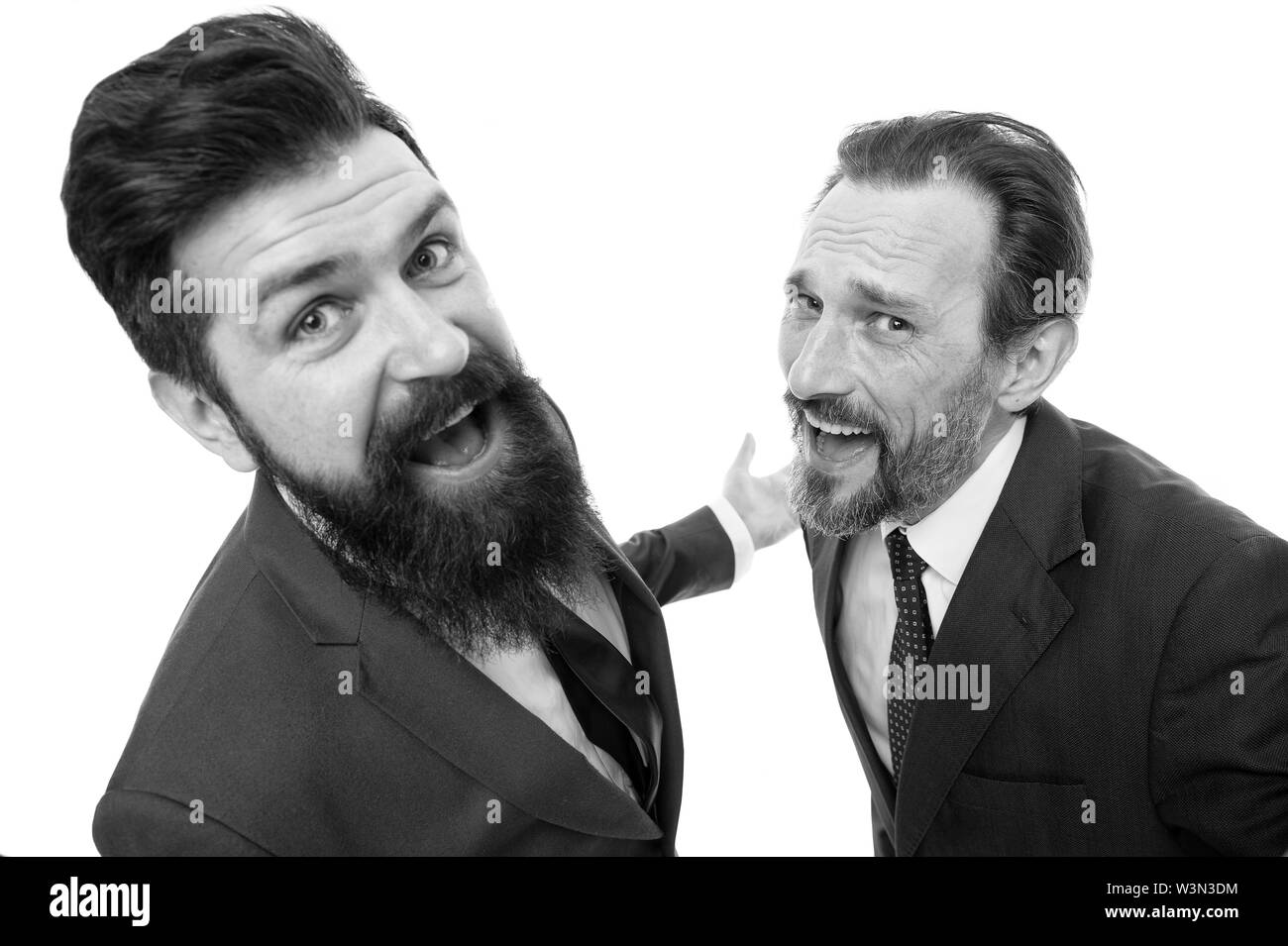 Are you kidding me. Partnership and teamwork. Men successful entrepreneurs white background. Business team. Business people concept. Men bearded wear formal suits. Well groomed business men laughing. - Stock Image