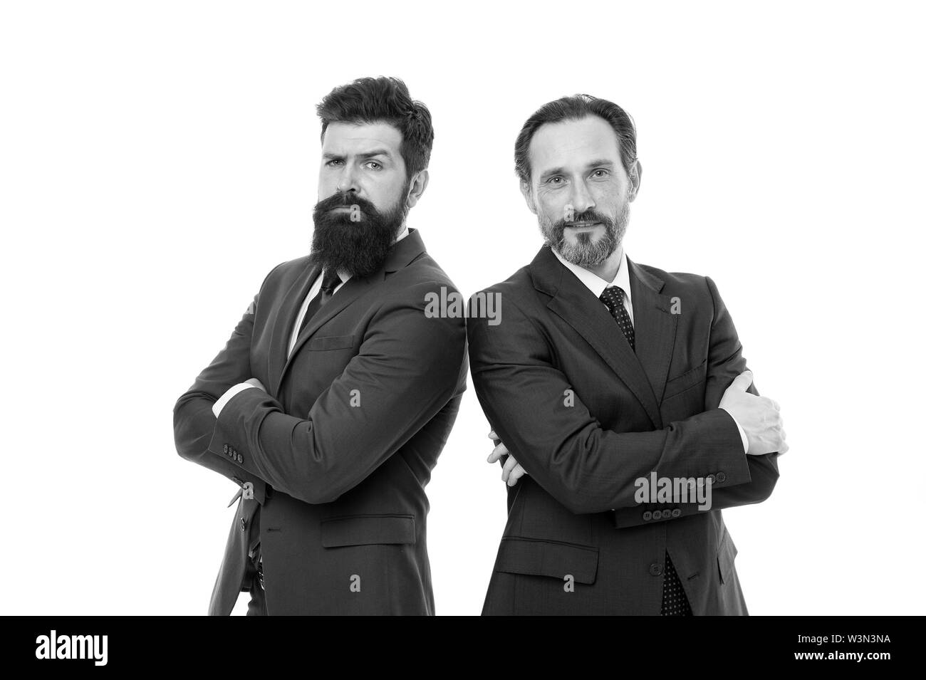 Passionate about their project. Men successful entrepreneurs white background. Business team. Business people concept. Men bearded wear formal suits. Well groomed business men. Partnership teamwork. - Stock Image