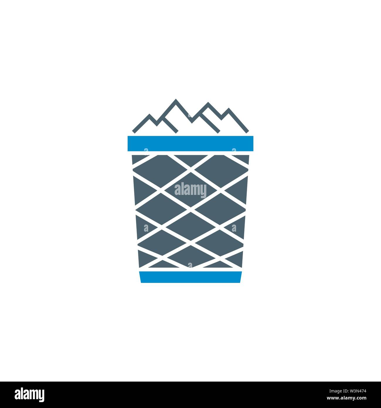Trash Bin related vector glyph icon. - Stock Image