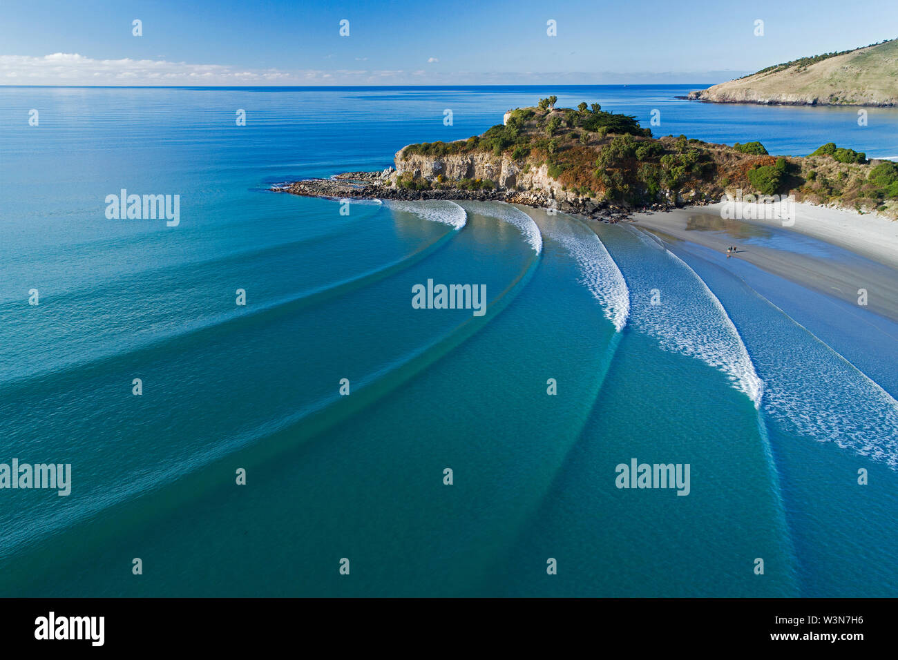 Mapoutahi, Historic Maori Pa Site, Goat Island, Purakanui Bay, north of Dunedin, South Island, New Zealand - drone aerial Stock Photo