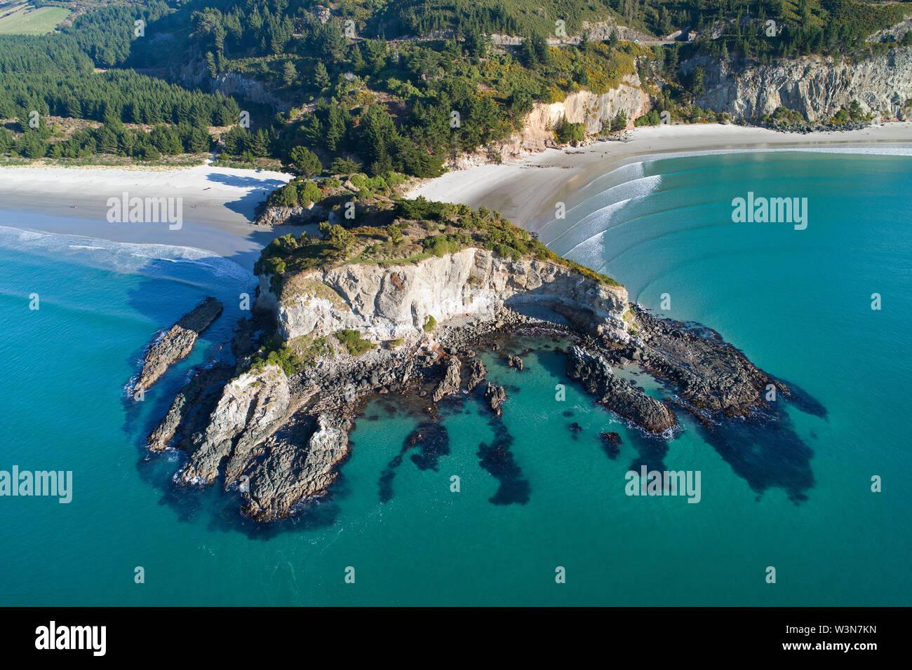 Mapoutahi, Historic Maori Pa Site, Goat Island, Purakanui Bay, north of Dunedin, South Island, New Zealand - drone aerial Stock Photo