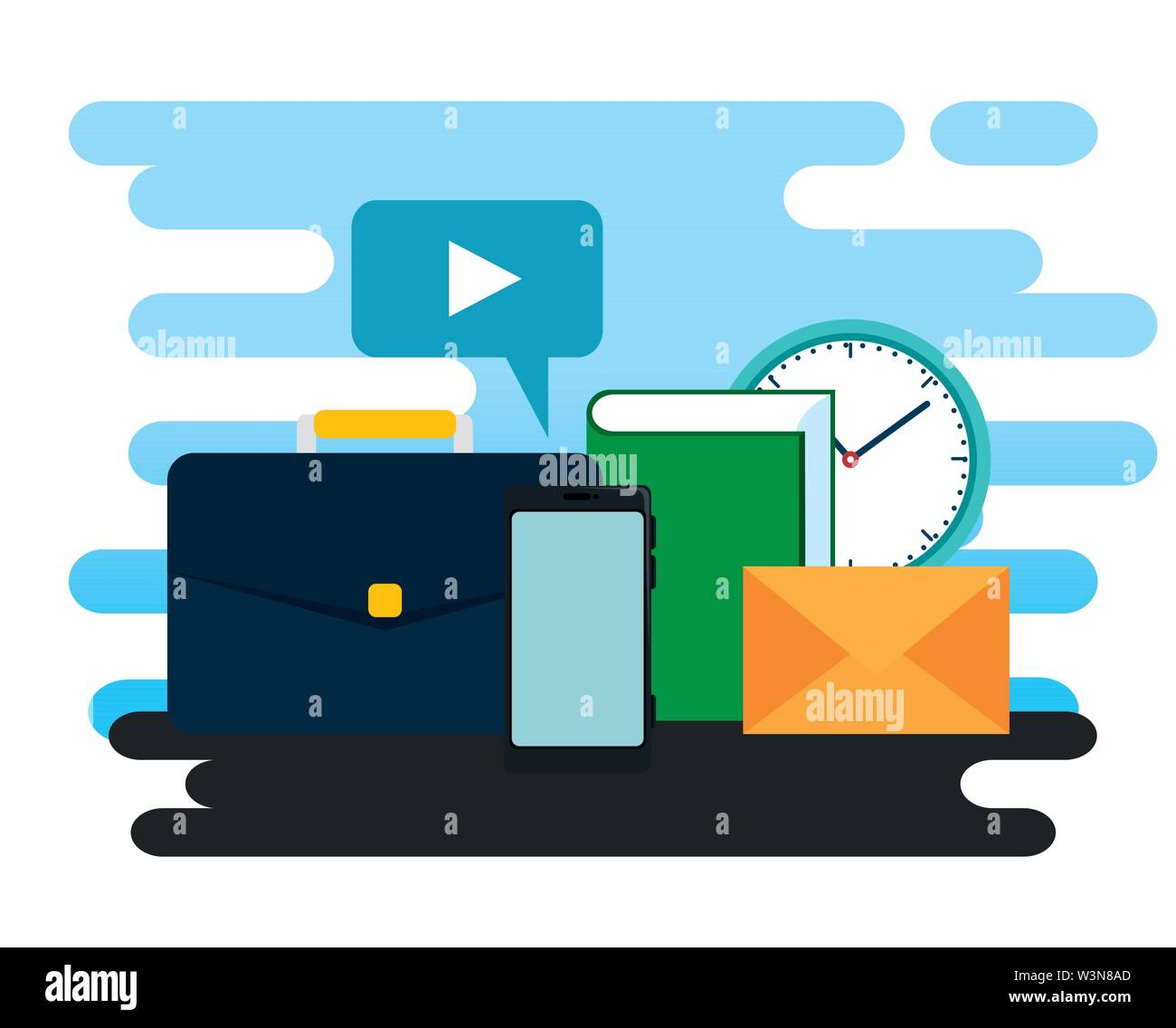 business briefcase with video chat bubble and clock Stock Vector