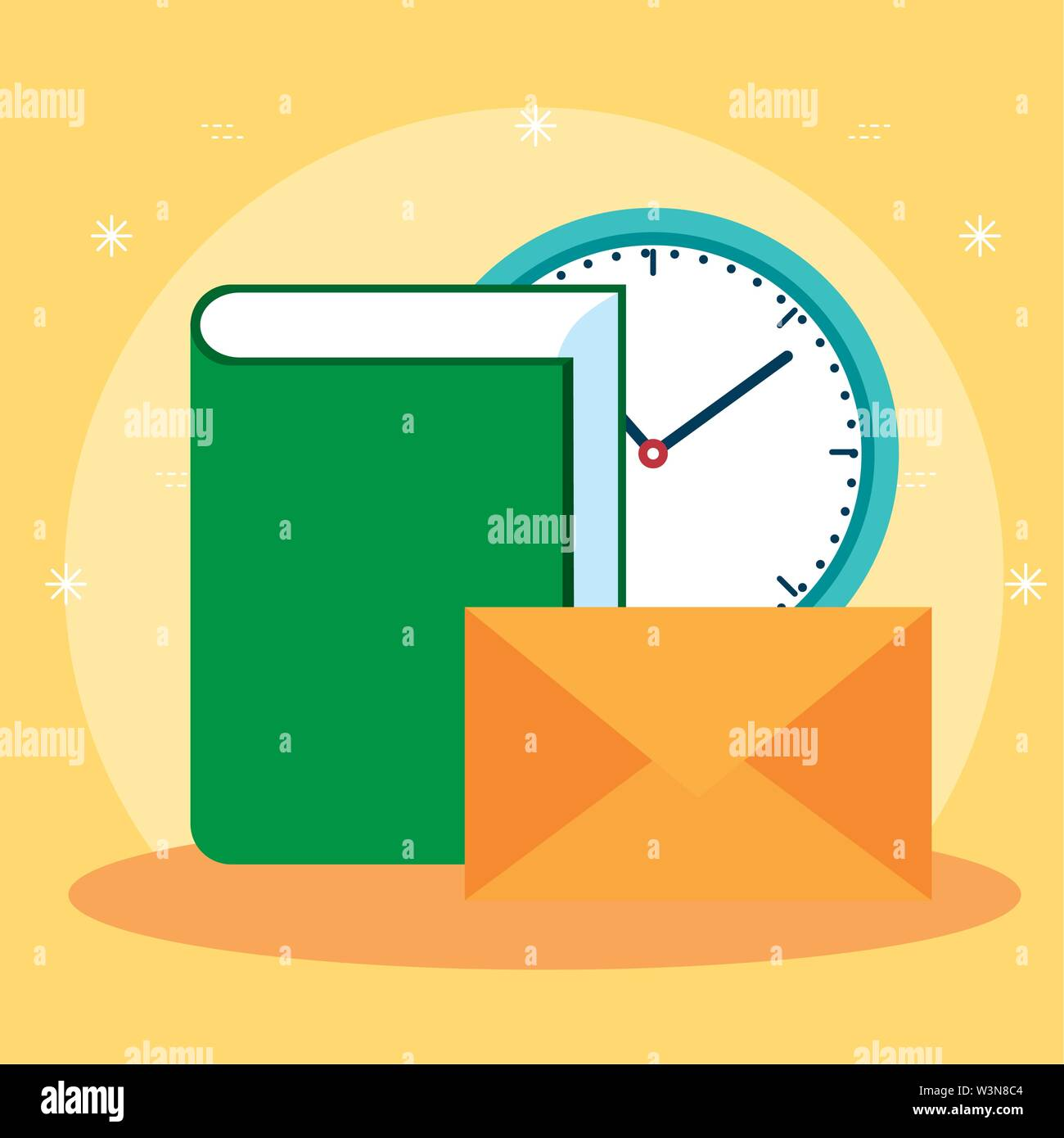 office book with clock and letter message Stock Vector