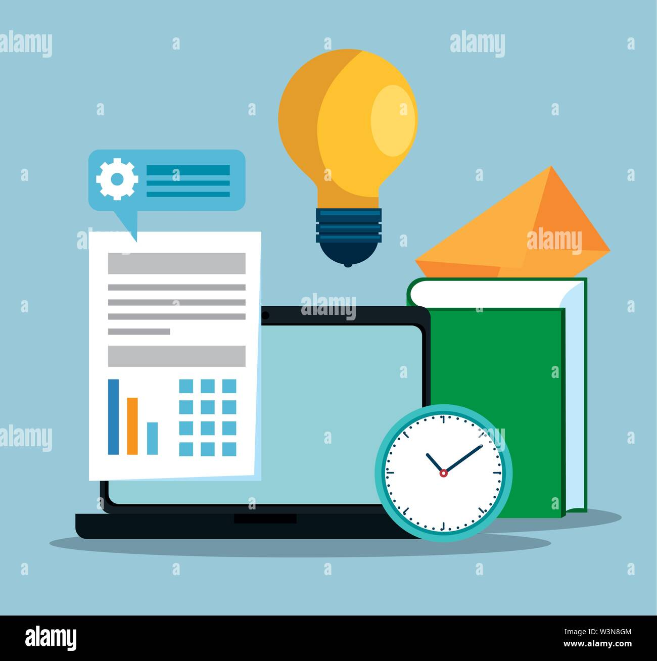 strategy office with business data information Stock Vector