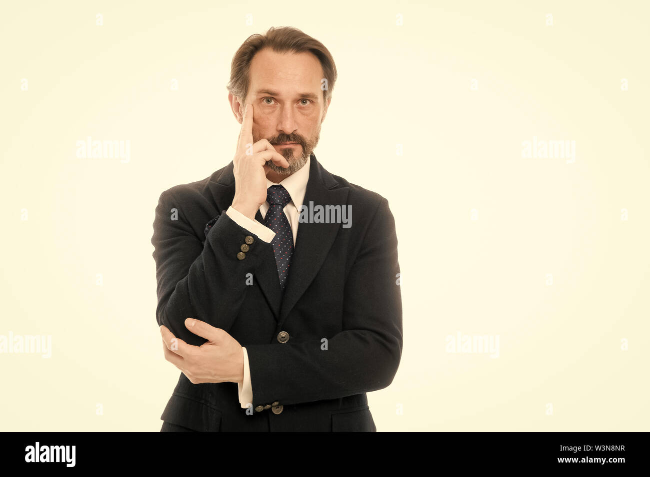 Perfect suit for every type of guy. Bespoke suit flatters every wearer. Suit imbue sense of confidence of gentlemen. Man handsome mature fashion model wear fashionable suit on white background. - Stock Image