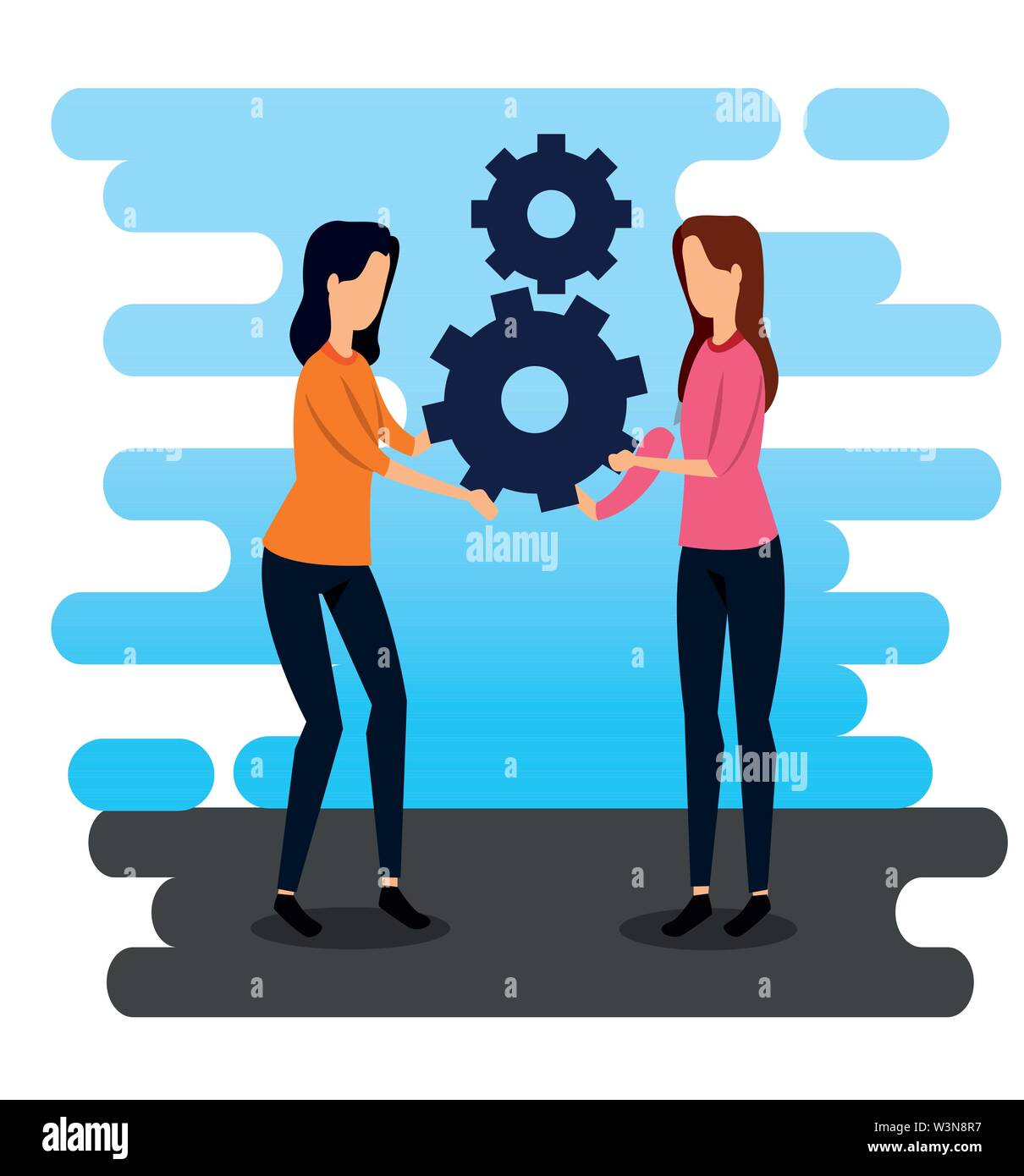 professional businesswomen teamwork and gears strategy Stock Vector
