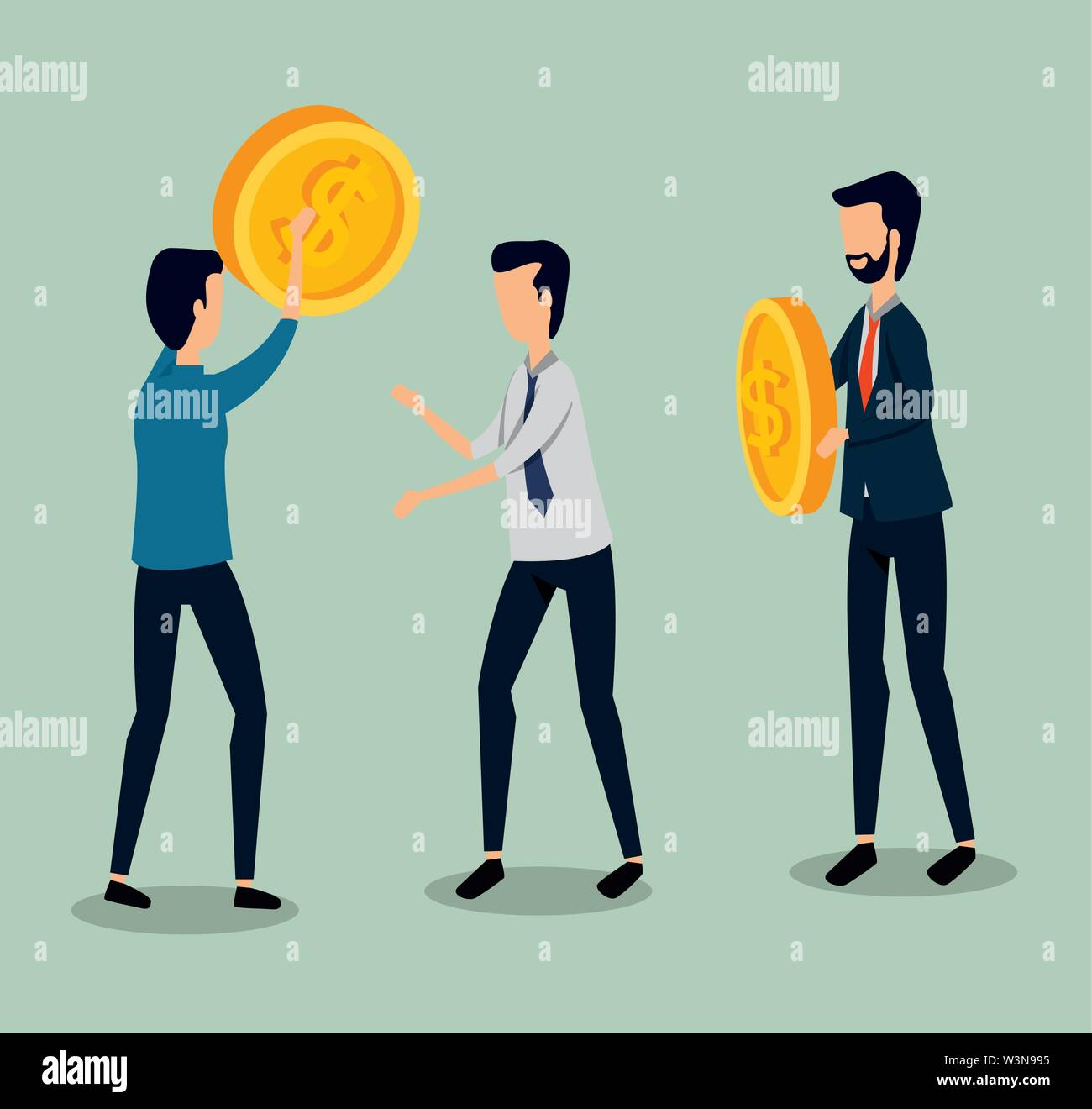 businessmen teamwork with coins and elegant clothes Stock Vector