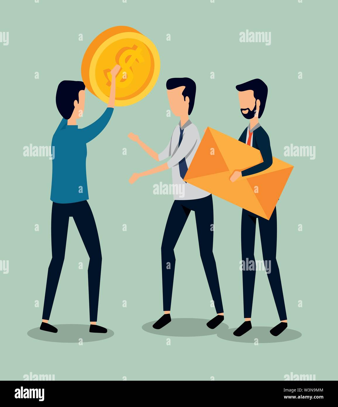professional businessmen teamwork with coin and letter Stock Vector