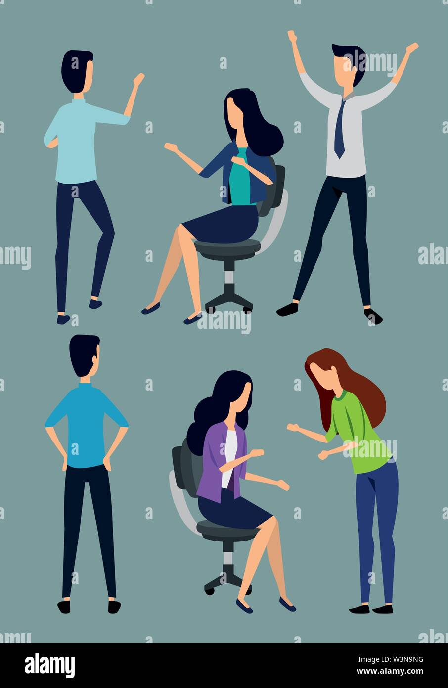 set of businesswomen and businessmen with elegant clothes Stock Vector