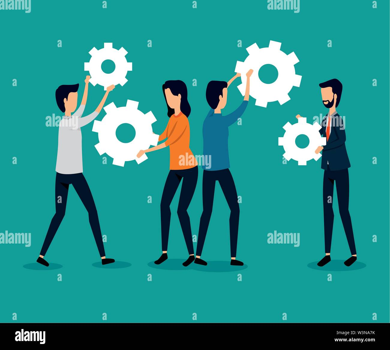businessmen and businesswoman teamwork with gears strategy Stock Vector