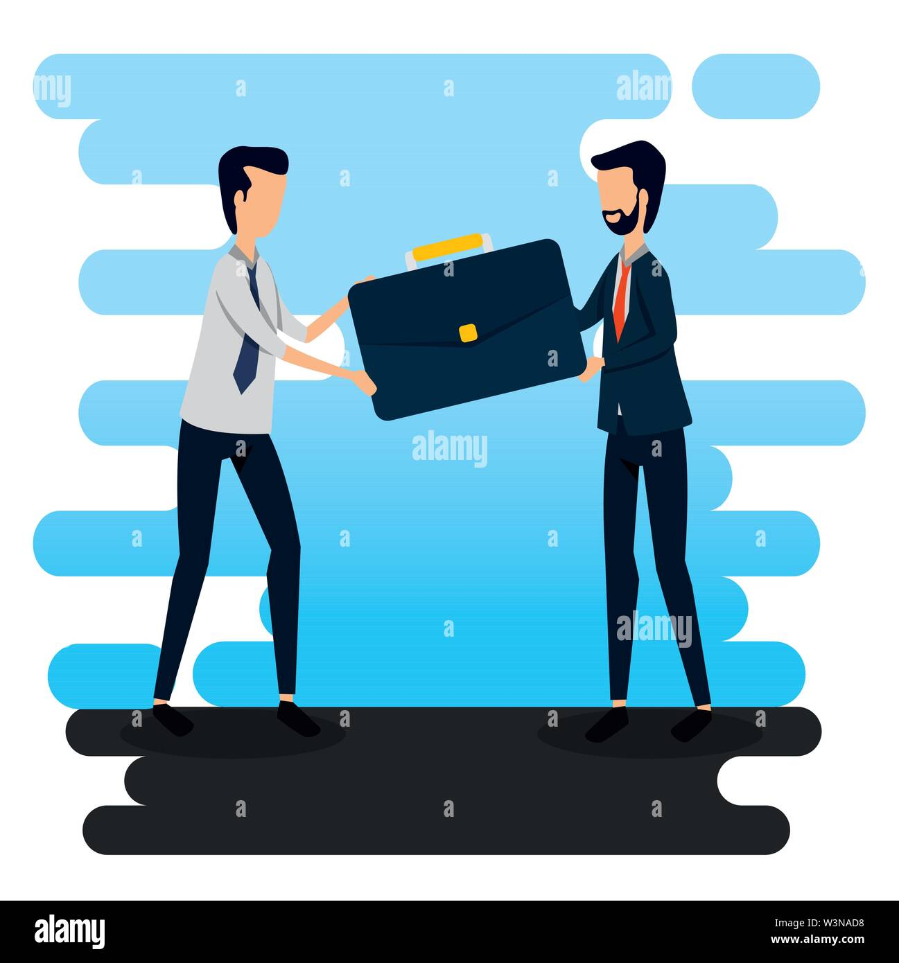 businessmen with briefcase data office information Stock Vector