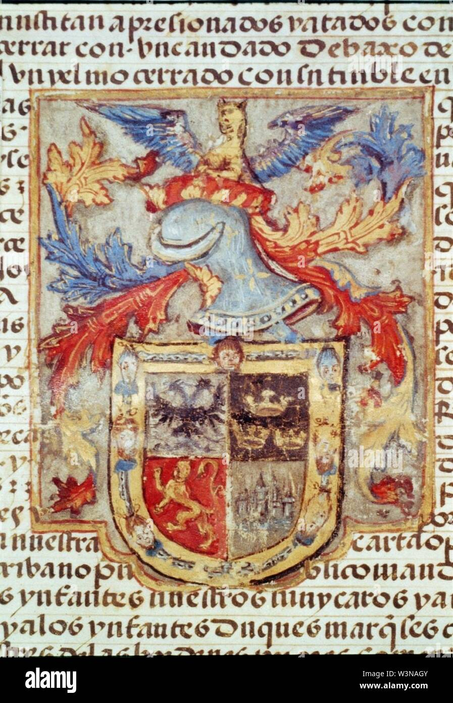 Coat of arms of Hernando Cortes, granted him by Emperor Charles V - Drawing from 5th sheet of grant - Stock Image