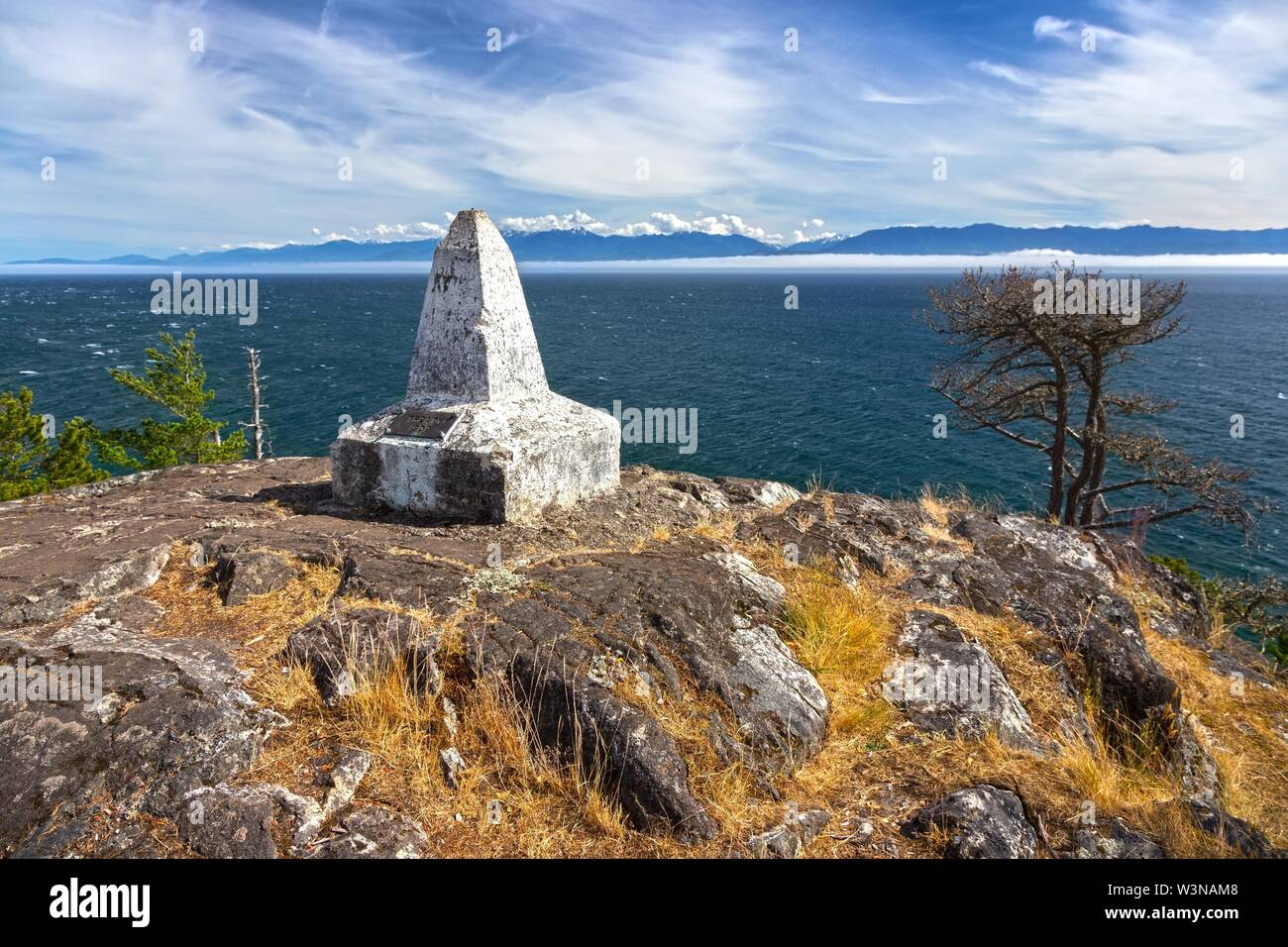 Historic Beechey Head Geographic Survey Reference Marker for the Canada - US International Border overlooking Strait of Juan De Fuca near Sooke, BC Stock Photo