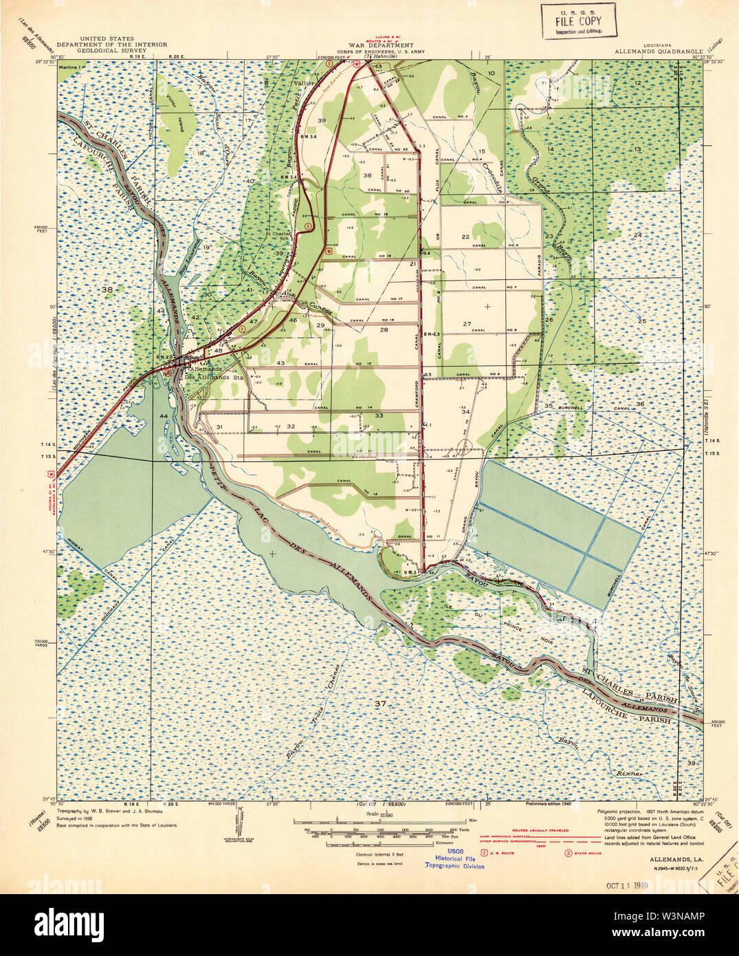 USGS TOPO Map Louisiana LA Allemands 333611 1940 31680 Restoration - Stock Image