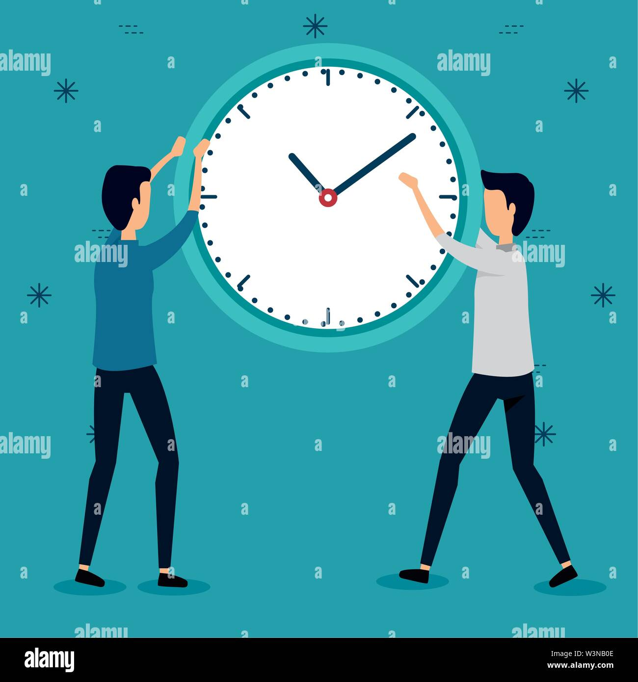 businessmen with clock teamwork strategy communication Stock Vector