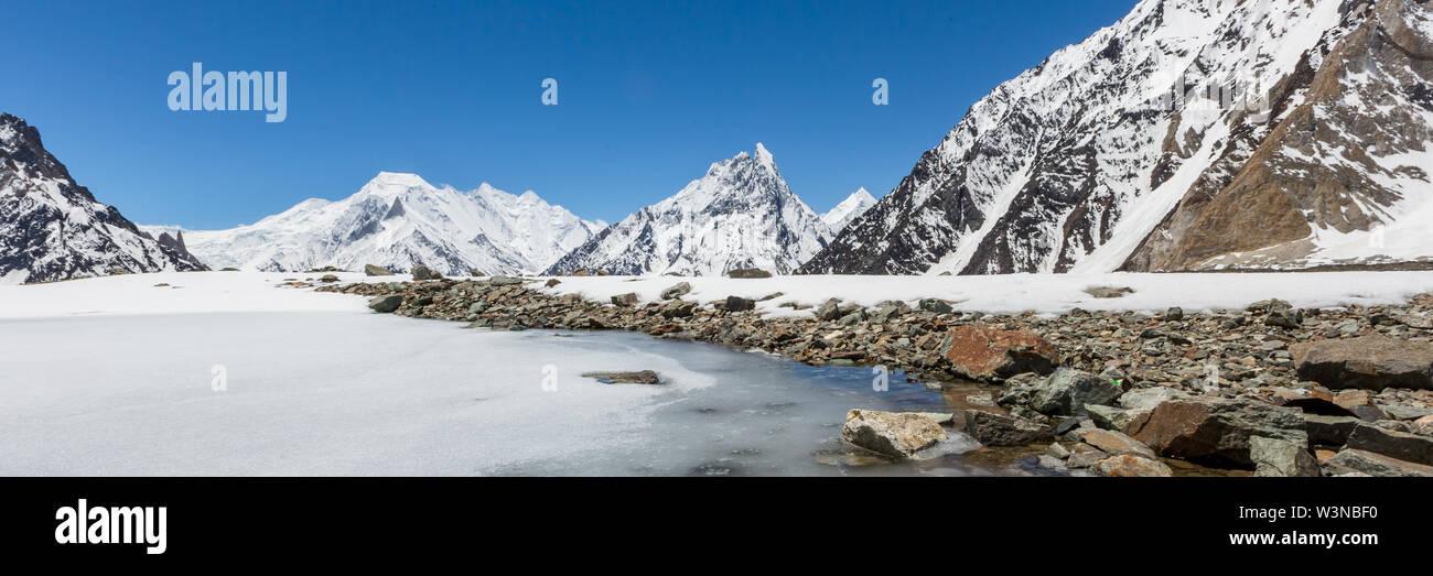 K2 mountain peak, second highest mountain in the world, K2 trek, Pakistan, Asia - Stock Image