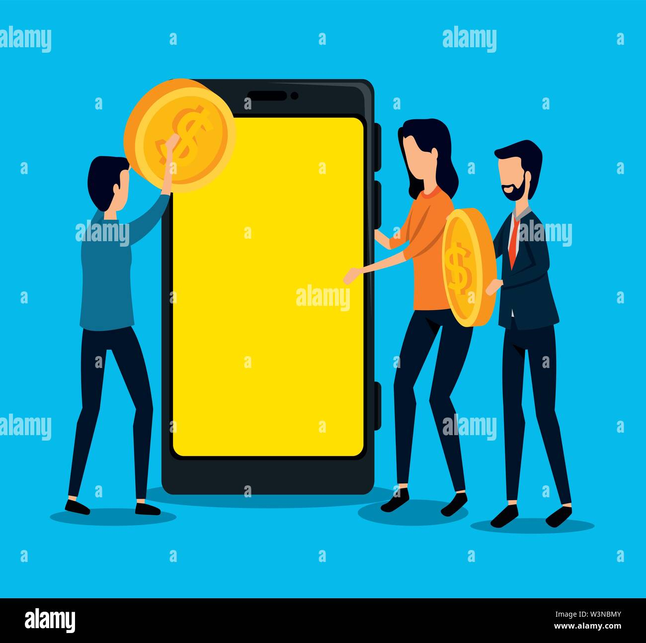 businessmen and businesswoman teamwork with coin and smartphone Stock Vector