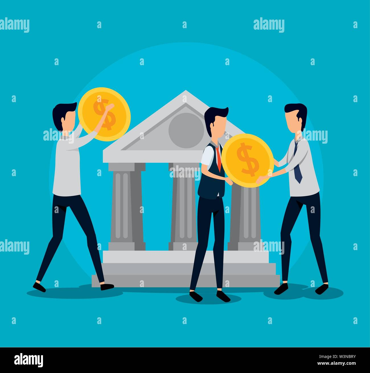 professional businessmen teamwork with coins and bank Stock Vector