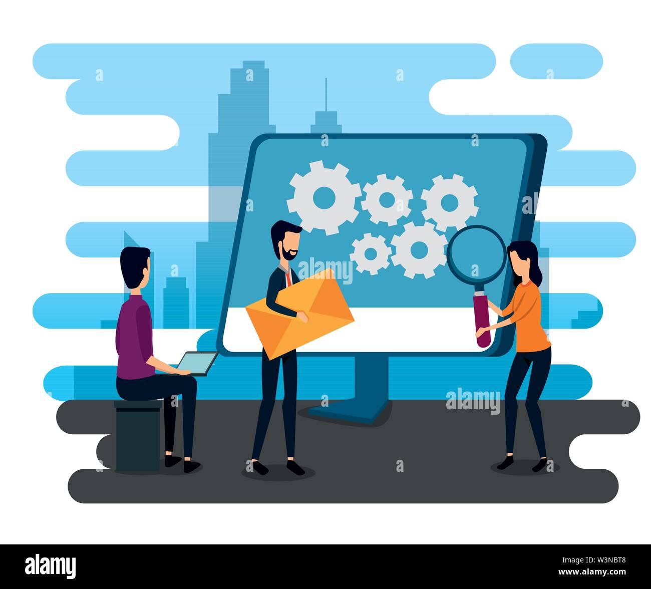 businessmen and businesswoman with computer and magnifying glass Stock Vector