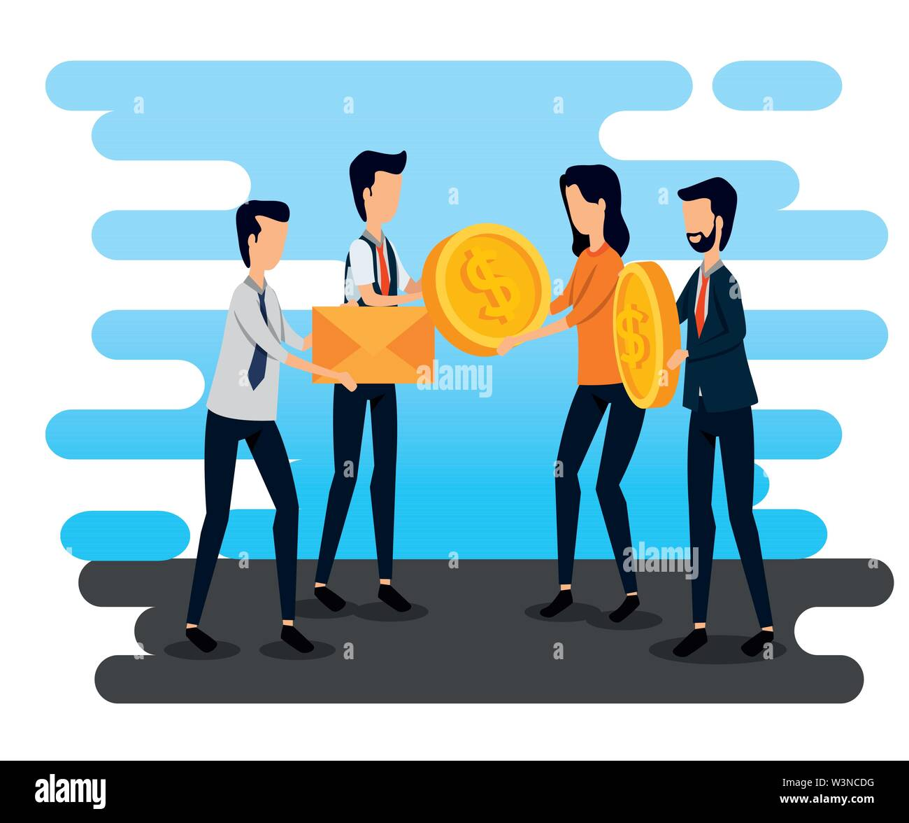 businessmen and businesswoman teamwork with letter and coins Stock Vector