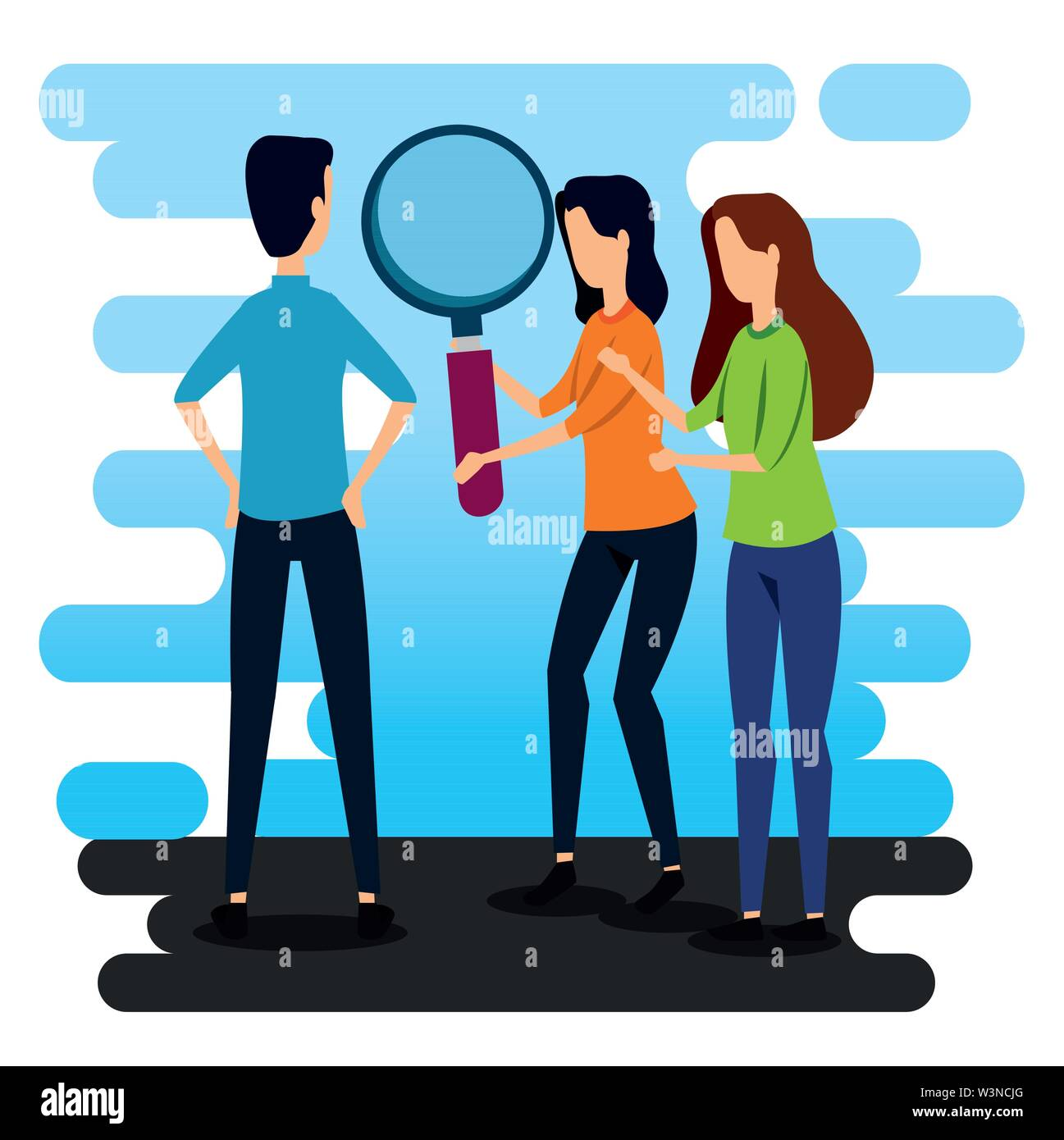 businesswomen and businessman teamwork with magnifying glass Stock Vector
