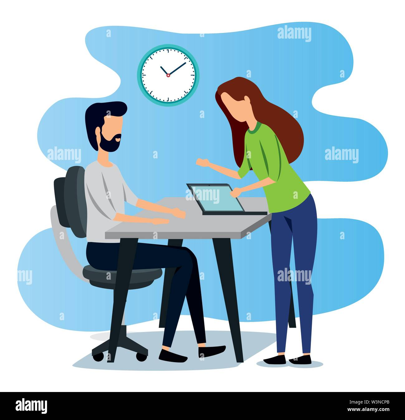 businesswoman and businessman with laptop technology and clock Stock Vector