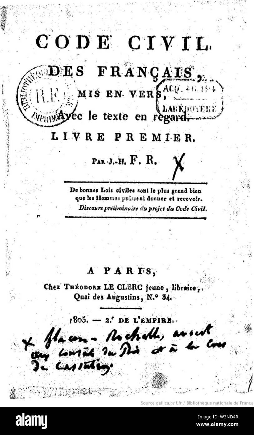 Code civil des français mis (...)Rochelle Joseph-Henri bpt6k5686399p. - Stock Image