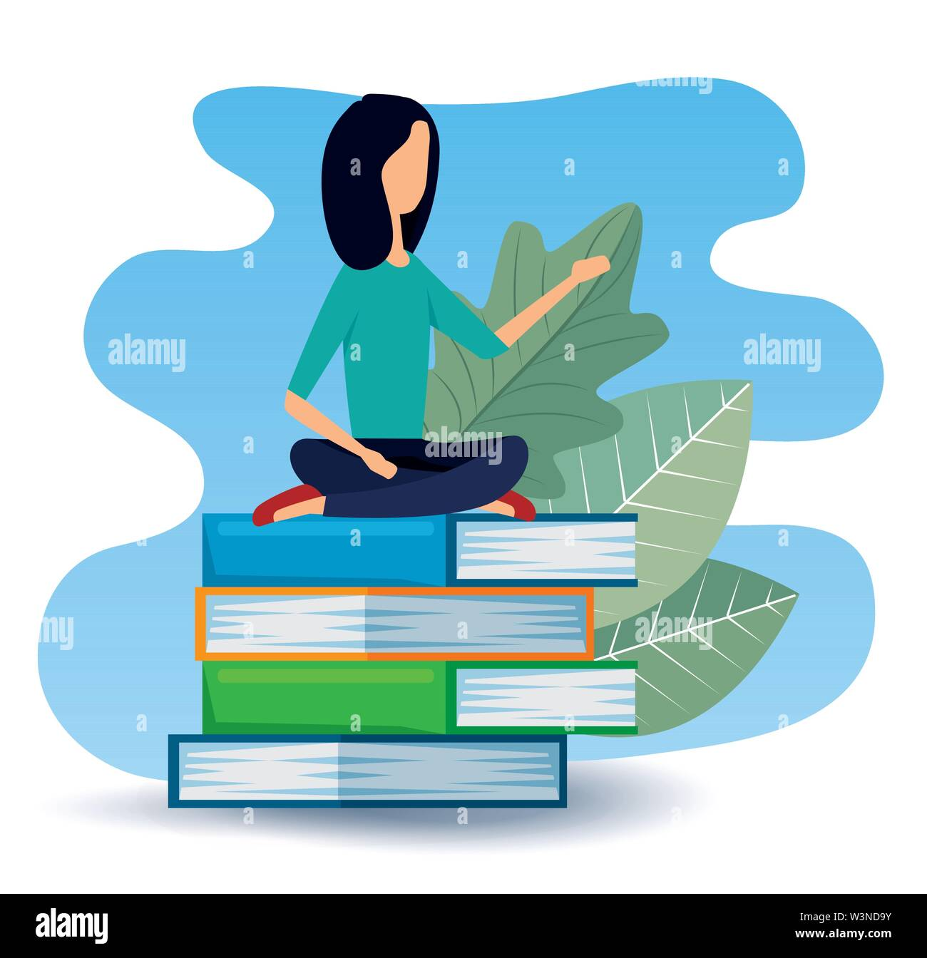 businesswoman sitting in the books with leaves plants Stock Vector