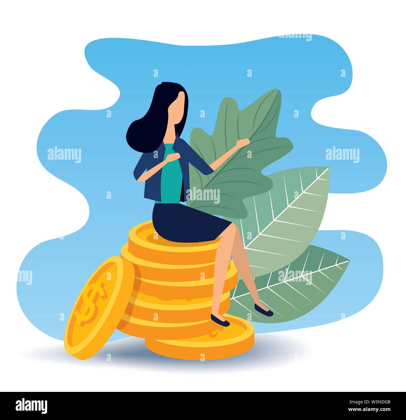 busineswoman sitting in the coins with leaves plants Stock Vector