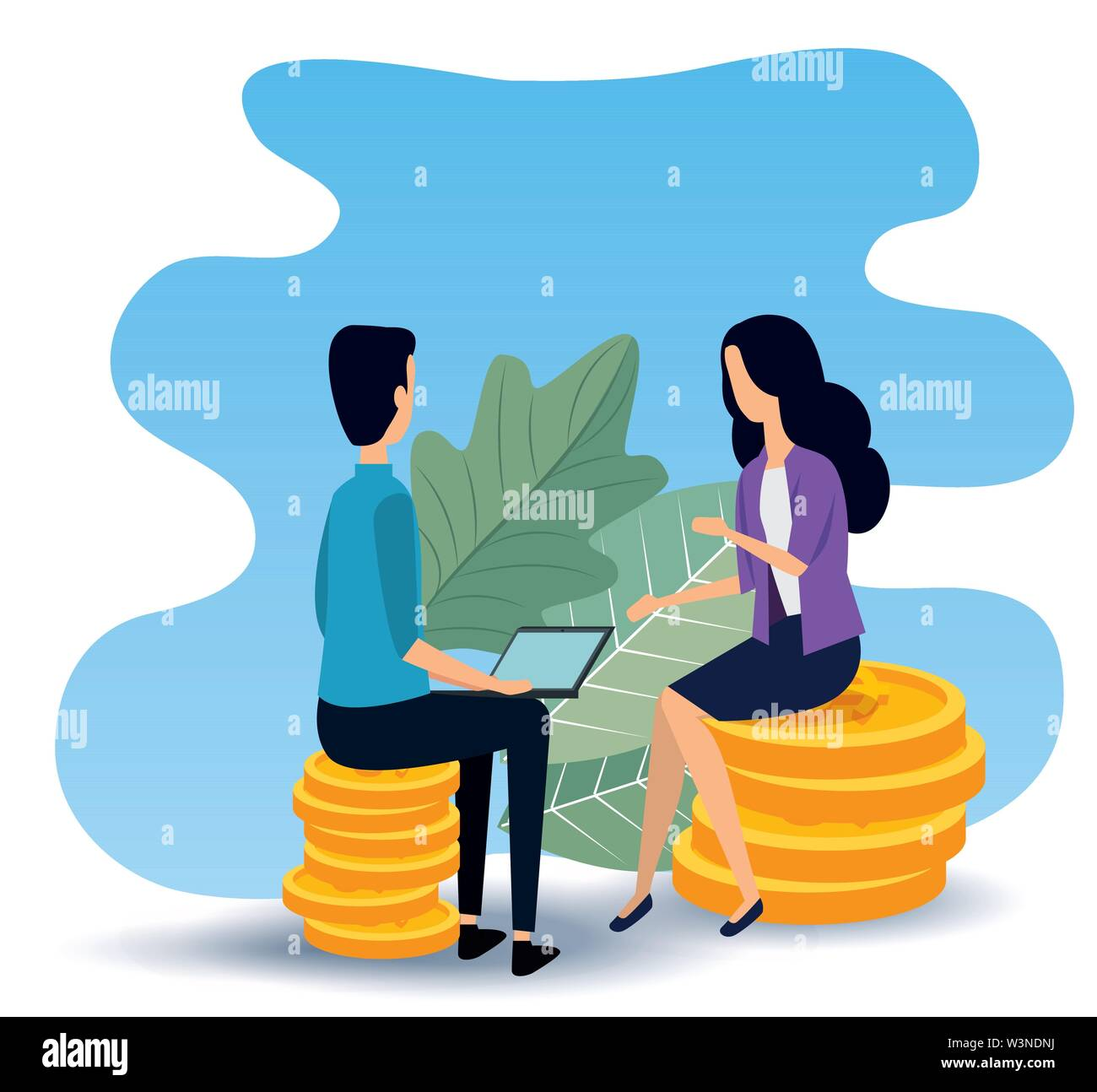 businesswoman and businessman teamwork sitting in the chair Stock Vector