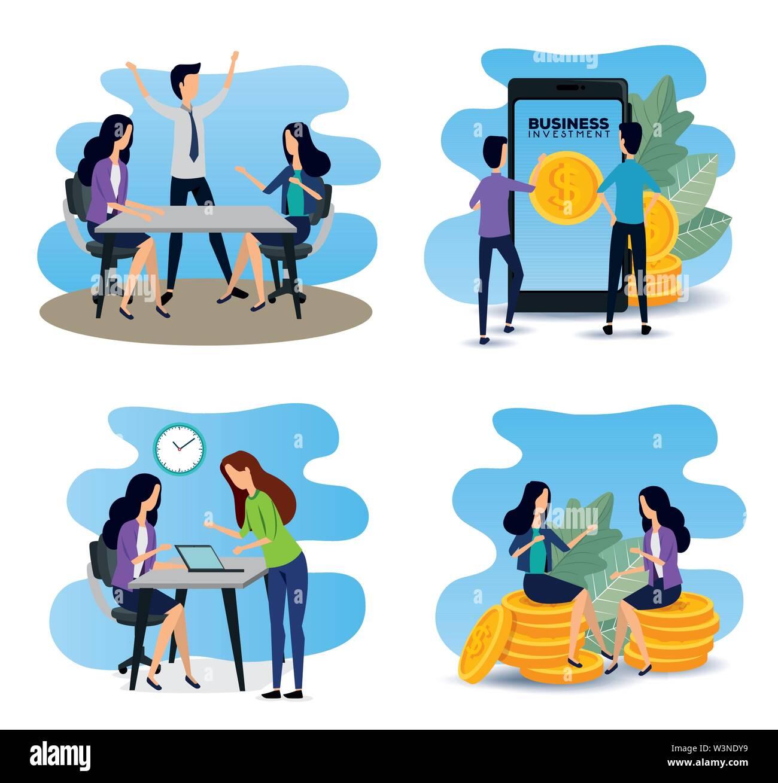 set of businesswomen and businessmen teamwork data information Stock Vector