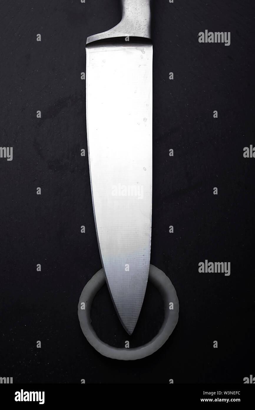 Kitchen knife on a black background close-up - Stock Image