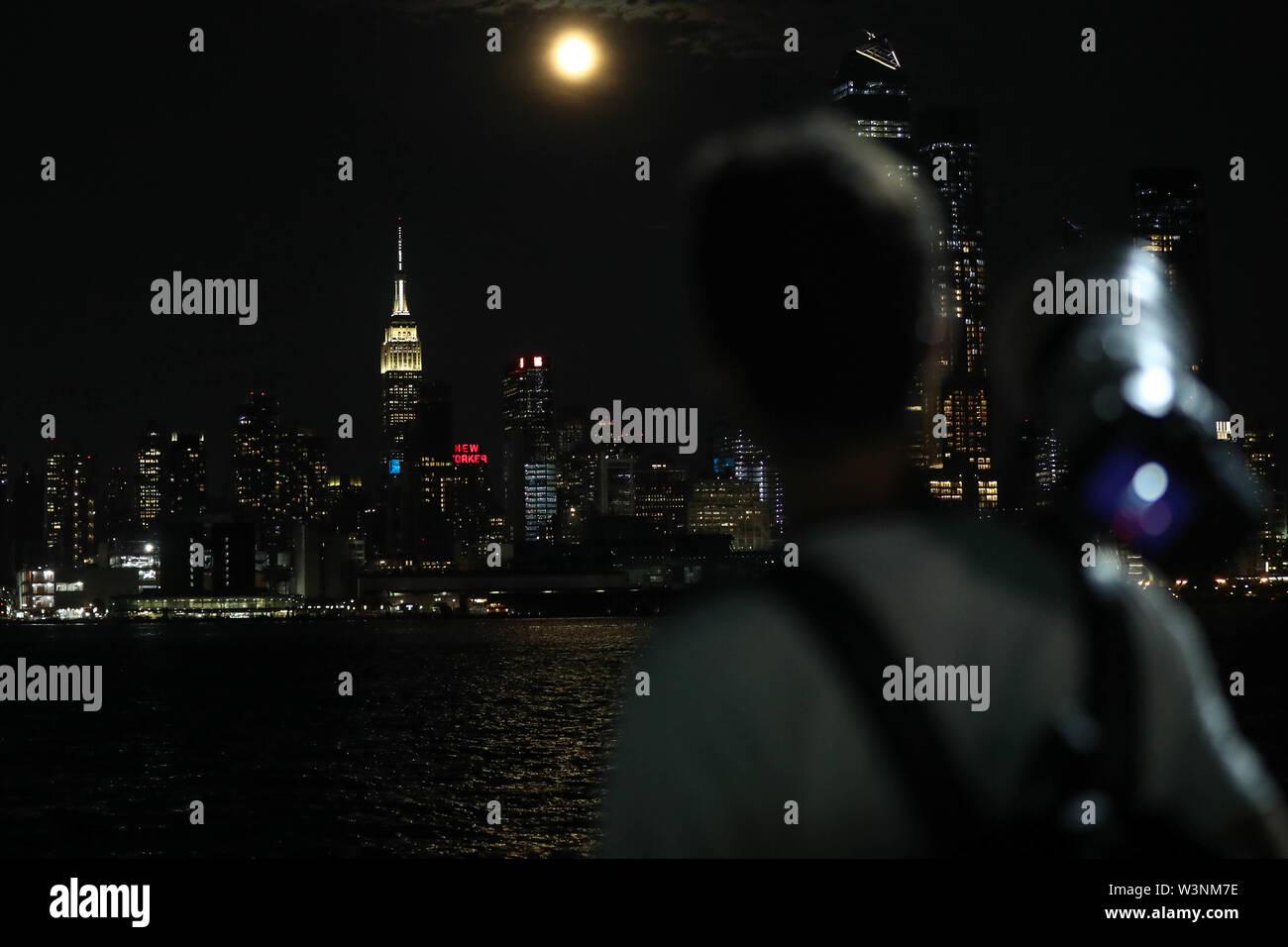 Hoboken, New Jersey, USA  16th July, 2019  Full moon is seen