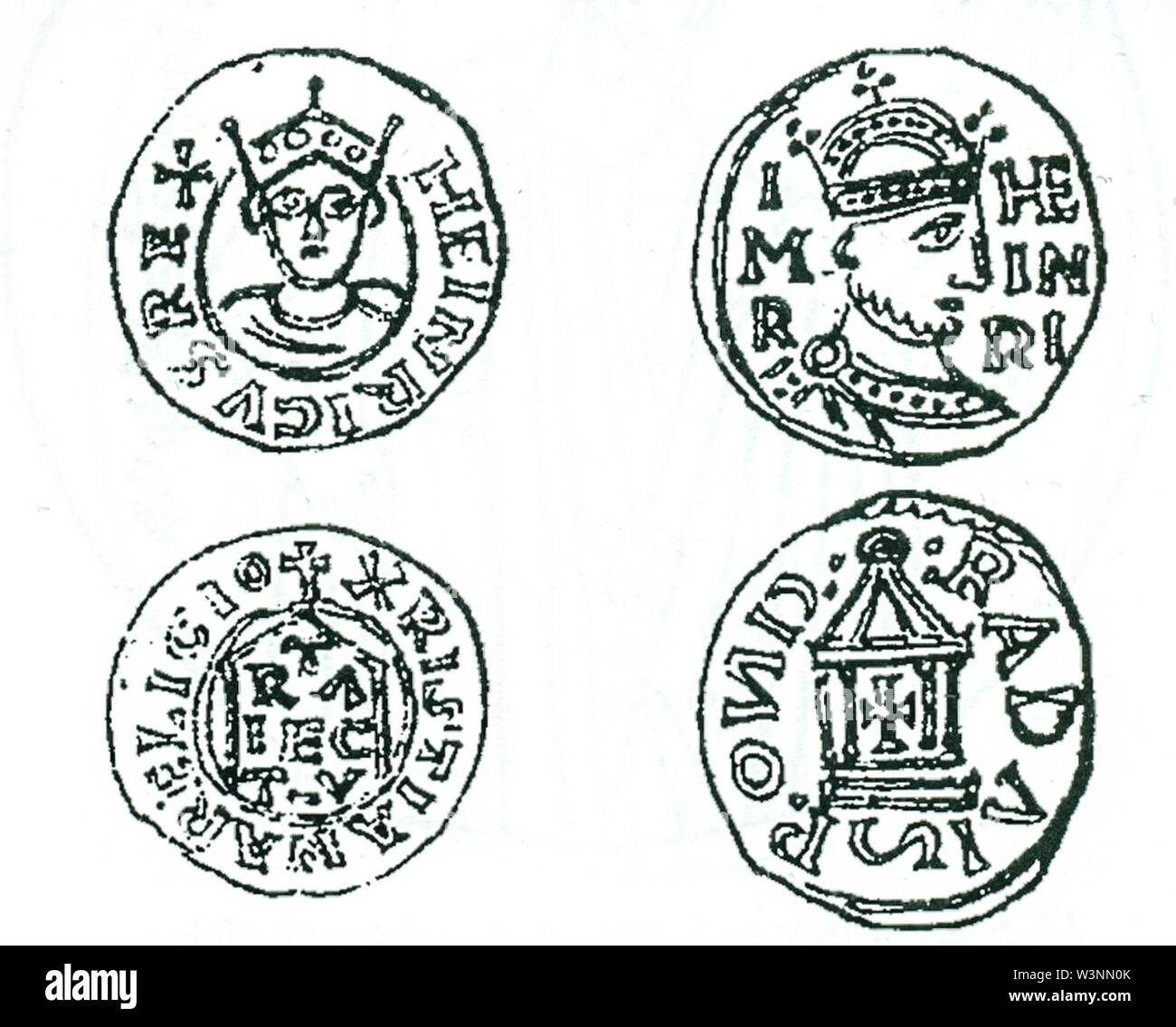 Coins of Henry II Holy Roman Emperor. - Stock Image