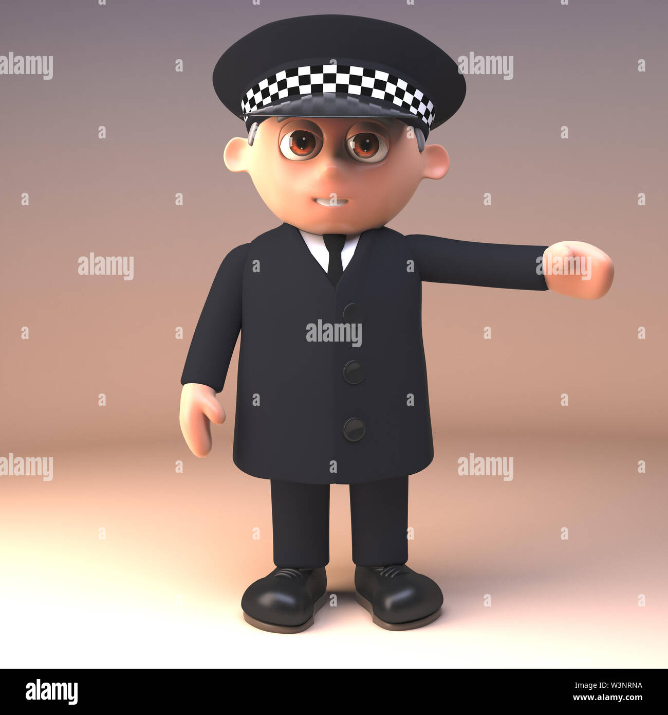 Police officer on duty and in uniform gestures with arm to the left, 3d illustration render - Stock Image