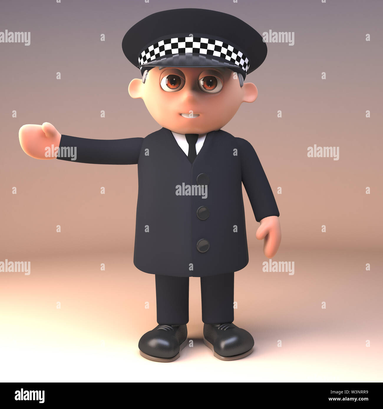 Police officer in uniform on duty gestures to the right with arm outstretched, 3d illustration render - Stock Image